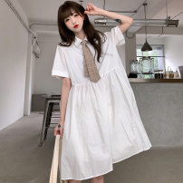 Dress Spring 2021 White (without tie) Purple (without tie) white (with tie) Purple (with tie) M L XL longuette singleton  elbow sleeve commute Polo collar Solid color routine 18-24 years old Mengyingchun Korean version More than 95% polyester fiber Polyester 100% Pure e-commerce (online only)