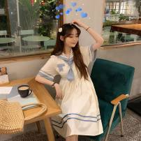 Dress Summer 2021 white S,M,L,XL Middle-skirt singleton  Short sleeve Sweet Admiral High waist Socket A-line skirt routine Others 18-24 years old Type A Bow, tie 31% (inclusive) - 50% (inclusive) brocade cotton solar system