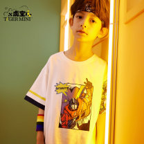 T-shirt White tangerine Little tiger baby 110cm [preemptive delivery] 120cm [preemptive delivery] 130cm [preemptive delivery] 140cm [preemptive delivery] 150cm [preemptive delivery] 160cm [preemptive delivery] male summer Short sleeve Crew neck leisure time There are models in the real shooting