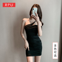 Dress Spring 2021 Red and black S M L XL XXL XXXL Short skirt singleton  Sleeveless commute Slant collar Elastic waist Solid color zipper One pace skirt other Breast wrapping 25-29 years old Type H RPU lady Pleated open back pleated asymmetric zipper PR-X0306 81% (inclusive) - 90% (inclusive) nylon