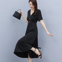Dress Summer 2021 black M L XL Mid length dress singleton  Short sleeve commute V-neck High waist Solid color Socket A-line skirt other Others 25-29 years old Type A Wan Shangge Retro Button zipper WSGCLYZ2171 More than 95% Silk and satin polyester fiber Other polyester 95% 5%