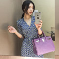 Dress Summer of 2019 blue S M L XL Miniskirt three quarter sleeve V-neck 18-24 years old Long Fang Li Shang More than 95% other Other 100%
