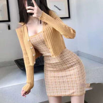 Wool knitwear Autumn 2020 Top, skirt, suit White, purple, green, blue, yellow, black, pink, jujube, tail goods randomly Long sleeves Two piece set Socket cotton More than 95% Regular routine commute Self cultivation Low crew neck routine 18-24 years old