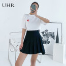 skirt Spring 2021 S M L XL black Short skirt commute High waist Pleated skirt Solid color Type A 25-29 years old 21SS2B21015 71% (inclusive) - 80% (inclusive) UHR polyester fiber fold Polyester 73% viscose 21% polyurethane elastic 6% Pure e-commerce (online only)