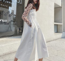Dress Summer 2020 white S,M,L,XL longuette singleton  Sleeveless Sweet One word collar High waist Solid color Socket A-line skirt other straps Type A More than 95% other cotton Countryside