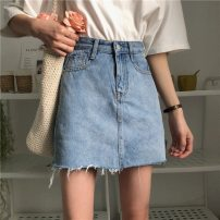 skirt Summer of 2019 S,XL,2XL,3XL,4XL,5XL,L,M 7702 denim skirt light blue longuette Denim skirt Solid color 18-24 years old 51% (inclusive) - 70% (inclusive) other Rich with delicate