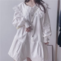 Dress Spring 2021 Average size Middle-skirt singleton  Long sleeves commute Doll Collar Loose waist Solid color Single breasted Big swing routine Korean version 81% (inclusive) - 90% (inclusive) other cotton
