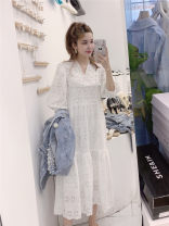 Dress Summer 2021 White with sling inside Average size longuette Two piece set Short sleeve commute V-neck Loose waist Solid color Socket Big swing Others Korean version Embroidery, Gouhua, hollow out, nail beads 81% (inclusive) - 90% (inclusive) brocade cotton
