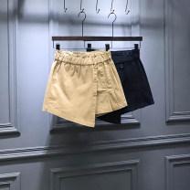 skirt Autumn of 2019 S,M,L,XL Khaki, black Short skirt Versatile High waist A-line skirt Solid color Type A 71% (inclusive) - 80% (inclusive) other cotton Asymmetry, button, wash