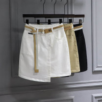 skirt Spring 2021 S,M,L,XL White, khaki, black Short skirt Versatile High waist skirt Solid color Type A 71% (inclusive) - 80% (inclusive) other cotton Pocket, asymmetric, button, wash