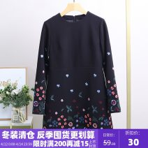 Dress Winter 2020 black S,M,L Mid length dress singleton  Long sleeves street Crew neck Loose waist other A-line skirt routine Others 25-29 years old Type X Xking / Exxon 51% (inclusive) - 70% (inclusive) polyester fiber