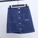 skirt Spring 2020 S,M,L,XL Denim blue Short skirt street Natural waist A-line skirt Solid color 25-29 years old 71% (inclusive) - 80% (inclusive) Other / other cotton