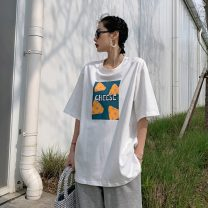 Women's large Spring 2021 White grey L S M commute easy Short sleeve Korean version Crew neck routine other routine MJDIOIWKISV Xiansi Other 100% Pure e-commerce (online only)