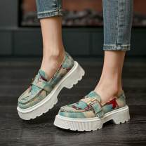 Low top shoes 35 36 37 38 39 40 Diefuli White blue Round head PU Muffin bottom Middle heel (3-5cm) Deep mouth PU Spring 2021 Trochanter leisure time Youth (18-40 years old) Color matching rubber Single shoes Muffin with leisure time