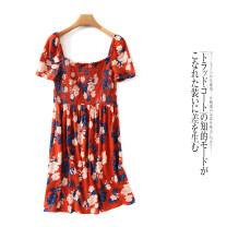 Dress Summer 2021 singleton  Short sleeve commute One word collar High waist Socket routine Lady Boya Retro Fold, print