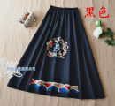 skirt Summer of 2019 Average size Black, dark blue, red Mid length dress commute High waist High waist skirt Solid color Type A 51% (inclusive) - 70% (inclusive) brocade Nalan Heyun cotton ethnic style