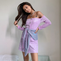 Dress Autumn 2020 violet S,M,L Short skirt Nine point sleeve One word collar 25-29 years old Type H MOOD X MIURA 20FWD20 More than 95% polyester fiber