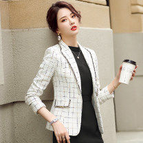 suit Spring 2021 Black, white M,L,XL,2XL,3XL Long sleeves routine Self cultivation tailored collar A button commute routine Solid color 25-29 years old 96% and above polyester fiber Other / other