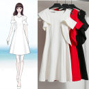 Dress Summer 2021 White, black, red S,M,L,XL,2XL Short skirt singleton  Short sleeve commute Crew neck middle-waisted Solid color A-line skirt routine Others Type A Other / other 91% (inclusive) - 95% (inclusive) other