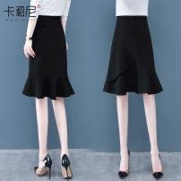skirt Autumn 2020 S M L XL 2XL Black (skirt) Mid length dress commute High waist Ruffle Skirt Solid color Type A 30-34 years old KDN8038-ZSN 91% (inclusive) - 95% (inclusive) Kareni polyester fiber Korean version Polyester fiber 91.9% polyurethane elastic fiber (spandex) 8.1%