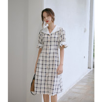 Dress Spring 2021 Blue and white check S M L Mid length dress singleton  elbow sleeve Sweet other High waist lattice Single breasted other bishop sleeve Others 18-24 years old Type X LHN Three dimensional decorative strap button with pleated stitching LD1441 51% (inclusive) - 70% (inclusive) Ruili