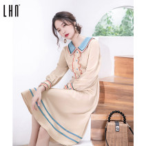 Dress Spring 2021 Apricot S M L Mid length dress singleton  Long sleeves Sweet Doll Collar High waist Solid color Socket A-line skirt bishop sleeve Others 18-24 years old LHN 91% (inclusive) - 95% (inclusive) polyester fiber Polyester 92% polyurethane elastic fiber (spandex) 8% Ruili
