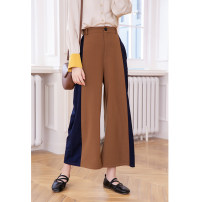 Casual pants brown S M L Spring 2021 trousers Straight pants High waist Sweet routine LX1551 LHN zipper Polyester 63% viscose 33% polyurethane elastic 4% Pure e-commerce (online only) Ruili