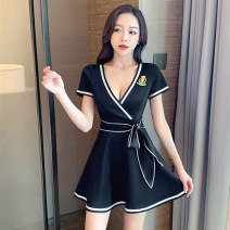 Dress Winter 2020 White black S M L XL 2XL Short skirt singleton  Short sleeve commute V-neck High waist Solid color Socket A-line skirt routine Others 18-24 years old Type A Ruo Manqi Korean version bow RRXC2366# More than 95% brocade polyester fiber Other polyester 95% 5%
