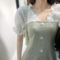 Lace / Chiffon Summer 2020 Light green S M L XL Short sleeve commute Socket singleton  Regular V-neck lattice Petal sleeve 18-24 years old The empress of Xuan Korean version 96% and above Other 100%