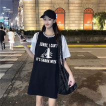 T-shirt White Short Sleeve Black Vest Average size Summer 2021 Sleeveless Crew neck Straight cylinder Medium length routine commute cotton 31% (inclusive) - 50% (inclusive) 18-24 years old Korean version youth letter Uniday 392# printing Cotton 31% others 69% Pure e-commerce (online only)