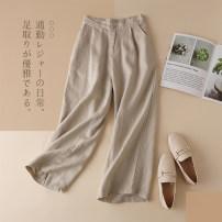 Casual pants M L XL 2XL 3XL Spring of 2018 Ninth pants Wide leg pants High waist commute Thin money 96% and above hemp literature pocket hemp Flax 100% Pure e-commerce (online only)