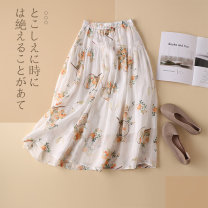 skirt Spring 2021 Average size Orange flowers on white background olive green blue green dark purple Mid length dress commute High waist A-line skirt Type A 30-34 years old More than 95% Lekia hemp Pocket lace up print ethnic style Ramie 100% Pure e-commerce (online only)
