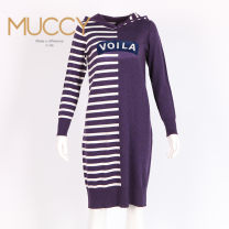 Dress Winter of 2018 Violet, powder blue, black and white stripe S,M,L,XL,2XL 25-29 years old Music / mu Zhiqi M85D3252
