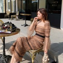 Dress Spring 2021 Light brown Xs, s, m, l, XL, no reason to return or exchange in seven days longuette singleton  Long sleeves street square neck High waist Dot zipper Pleated skirt pagoda sleeve Others 25-29 years old Type H Xueyuan style rs20-106 51% (inclusive) - 70% (inclusive) Crepe de Chine