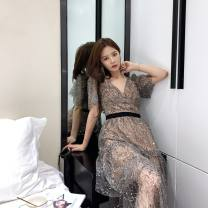 Dress Spring 2021 Grey, light grey Xs, s, m, l, XL, no reason to return or exchange in seven days longuette singleton  Short sleeve street V-neck High waist Solid color Socket Cake skirt routine Others 25-29 years old Type A Xueyuan style pf20-022m 51% (inclusive) - 70% (inclusive) other