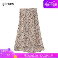 skirt Summer 2020 S M L Mid length dress fresh Natural waist Irregular Broken flowers Type A 18-24 years old More than 95% gcrues polyester fiber printing Polyester 100% Same model in shopping mall (sold online and offline)