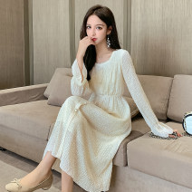 Dress Spring 2021 Off white S M L XL Mid length dress singleton  Long sleeves commute Crew neck High waist Solid color Socket Big swing routine Others 18-24 years old Type A Jonana Korean version Button More than 95% Chiffon other Other 100% Pure e-commerce (online only)