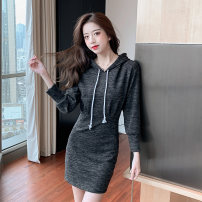 Dress Spring 2021 Red, dark grey S M L XL Short skirt singleton  Long sleeves commute Hood High waist Solid color Socket One pace skirt routine Others 25-29 years old Type A Jonana Korean version fold More than 95% other Other 100% Pure e-commerce (online only)
