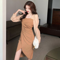 Dress Spring 2021 Black Khaki S M L XL Short skirt singleton  Long sleeves commute square neck High waist Solid color Socket Irregular skirt routine 18-24 years old Type A Jonana Korean version Stitching buttons More than 95% other other Other 100% Pure e-commerce (online only)