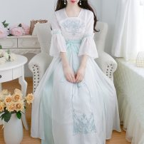 Dress Summer 2021 Pink Green S M L longuette singleton  elbow sleeve commute V-neck High waist Solid color Socket Big swing pagoda sleeve Others 18-24 years old Type A Jonana Retro Embroidery More than 95% Chiffon other Other 100% Pure e-commerce (online only)