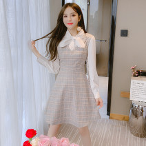 Dress Spring 2021 Picture color S M L XL Mid length dress singleton  Long sleeves commute Crew neck High waist Solid color zipper A-line skirt routine Others 18-24 years old Type A Jonana Korean version More than 95% brocade other Other 100% Pure e-commerce (online only)