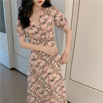 Dress Summer 2021 Pink flower S M L XL Mid length dress Short sleeve Sweet V-neck High waist Broken flowers Socket A-line skirt 25-29 years old Type A The past More than 95% Chiffon other Other 100%