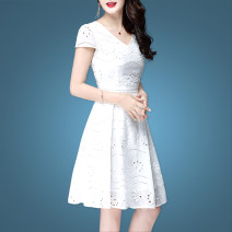Dress Spring 2021 White, black [with lace up], white [round neck] S,M,L,XL,2XL,3XL,4XL Middle-skirt singleton  Short sleeve commute Crew neck middle-waisted Solid color other A-line skirt routine Others 25-29 years old Type A Korean version Embroidery, crochet, hollow out, zipper QDN19035329SX