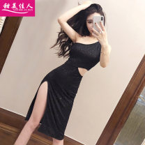 Dress Summer of 2018 black S M L Middle-skirt singleton  Sleeveless commute Slant collar High waist Solid color Socket One pace skirt other Others 18-24 years old Type H Sweet girl Korean version Open back asymmetry of cut out bright silk T60998# More than 95% brocade polyester fiber