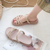 Sandals 35 36 37 38 39 40 Black Beige PU Xueyundu Barefoot Flat bottom Middle heel (3-5cm) Summer 2021 Trochanter Korean version Solid color Adhesive shoes Youth (18-40 years old) rubber daily Ankle strap Muffin and platform Low Gang Hollow PU PU Roman shoes