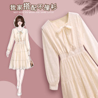 Dress Spring 2021 Beige M L XL XXL XXXL Middle-skirt singleton  Long sleeves Sweet square neck High waist Solid color Socket Princess Dress routine Others 25-29 years old Type A Kalinger Bow, lotus, embroidery, Auricularia auricula, hollow lace, three dimensional decorative wave lace More than 95%