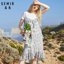 Dress Summer of 2019 150/76A/XS,155/80A/S,160/84A/M,165/88A/L,170/92A/XL,175/96A/XXL Mid length dress Two piece set Short sleeve commute Crew neck middle-waisted Broken flowers Socket other routine Others 18-24 years old Type A Semir / SEMA Korean version Bandage More than 95% other polyester fiber