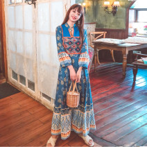 Dress Summer 2020 White, red, blue S,M,L,XL longuette singleton  Nine point sleeve Sweet stand collar High waist Decor Socket Big swing bishop sleeve Others 25-29 years old Type H Embroidery, printing, bandage 71% (inclusive) - 80% (inclusive) other polyester fiber Bohemia