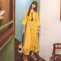 Dress Summer 2020 White, blue, yellow S,M,L,XL longuette singleton  three quarter sleeve commute V-neck Loose waist Abstract pattern Socket Big swing routine 25-29 years old Type H ethnic style tassels 71% (inclusive) - 80% (inclusive) other hemp
