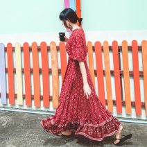 Dress Autumn of 2019 Red, green, blue S,M,L,XL longuette singleton  elbow sleeve V-neck Elastic waist Decor A button Big swing pagoda sleeve Others Type A Fringes, printing 71% (inclusive) - 80% (inclusive) cotton